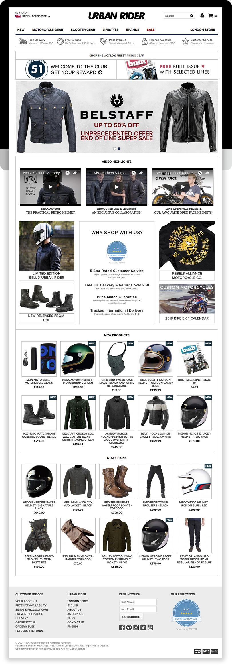 Urban Rider Magento Ecommerce Store Desktop