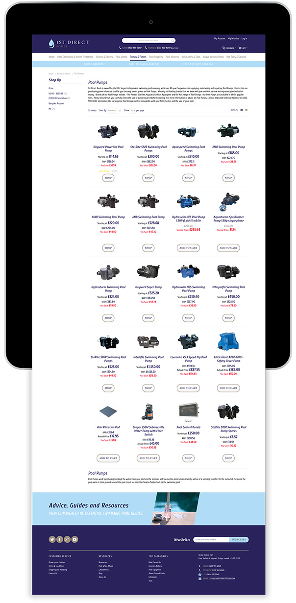 Magento Ecommerce Store Tablet Device