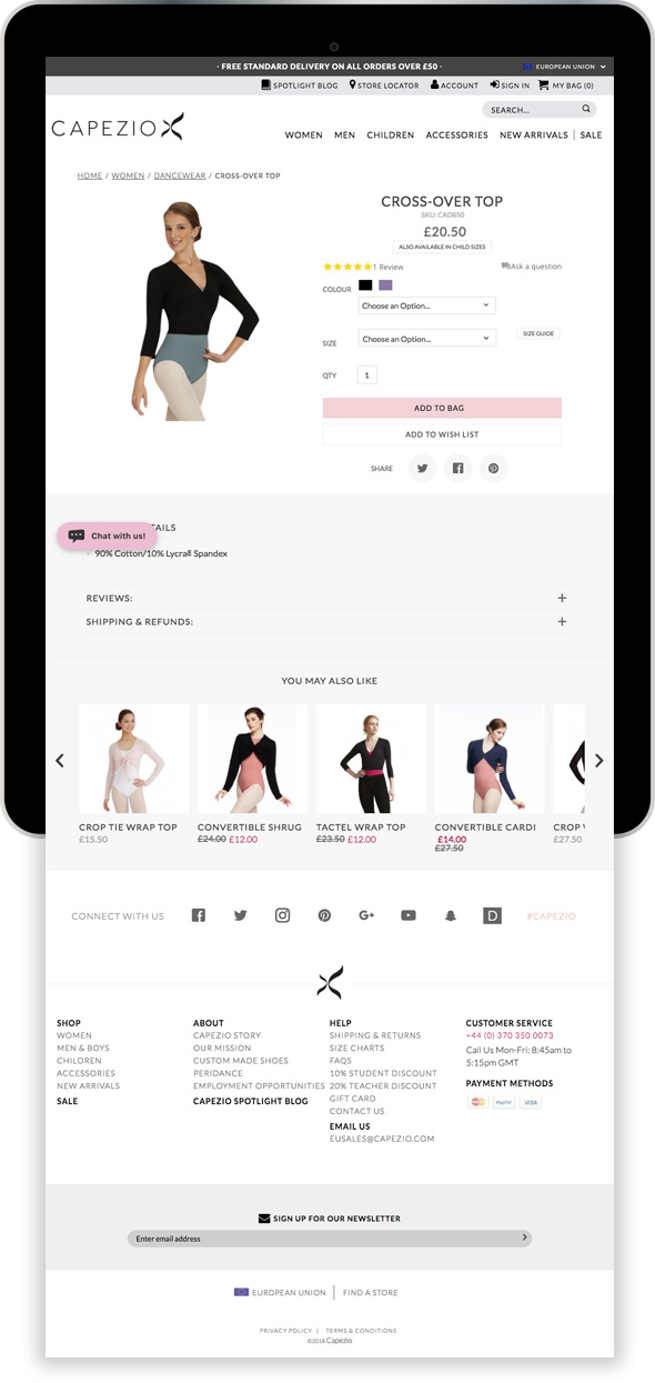 Capezio Magento Ecommerce Store Tablet Device