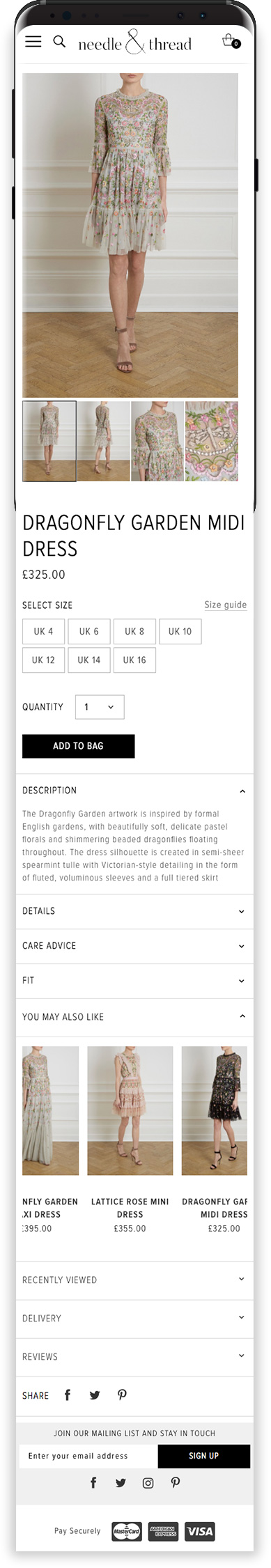 Magento Fashion Website on Mobile Device