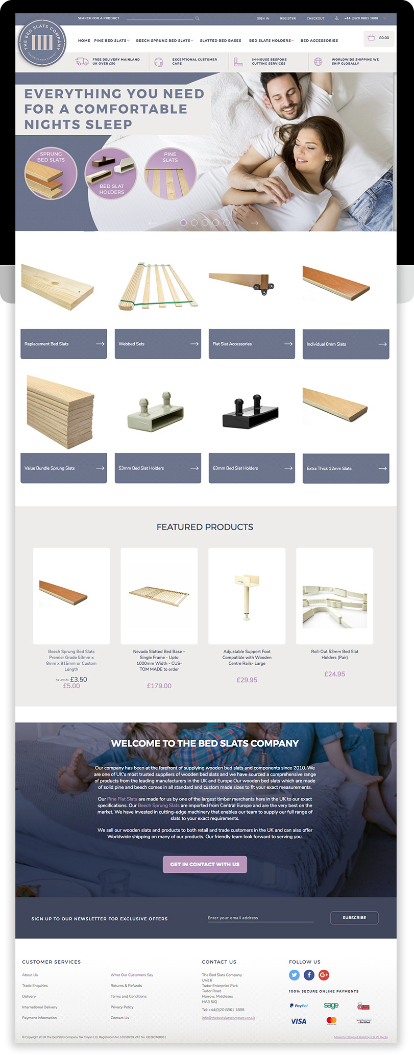 The Bed Slats Company Magento Ecommerce Desktop