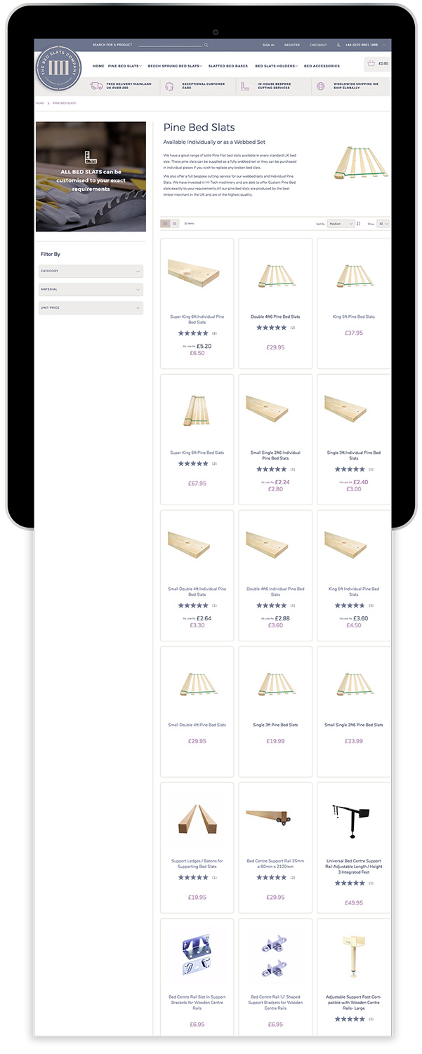 The Bed Slats Company Magento Ecommerce Tablet Device