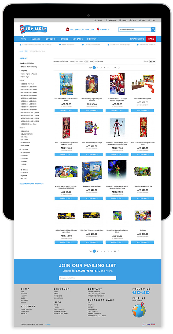 The Toy Store Magento Ecommerce Website on Tablet Device