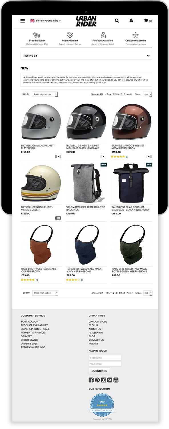 Urban Rider Magento Website on Tablet Device