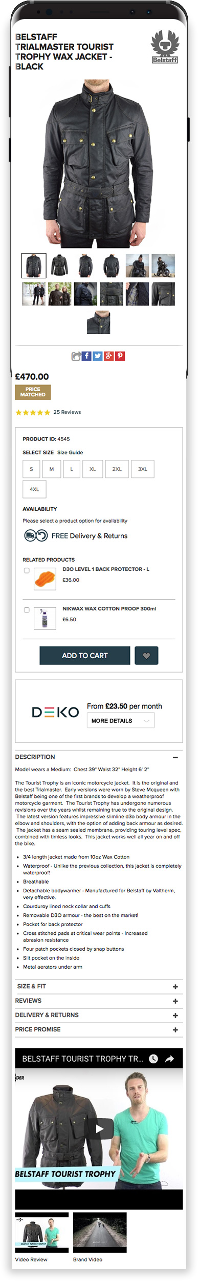 Urban Rider Magento Website on Mobile Device