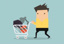 Man with shopping basket - 8 Ways to Nail Your Cart Abandonment Emails