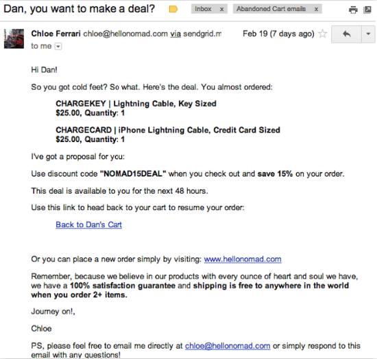Nomad - You want to make a deal? Cart abandonment email