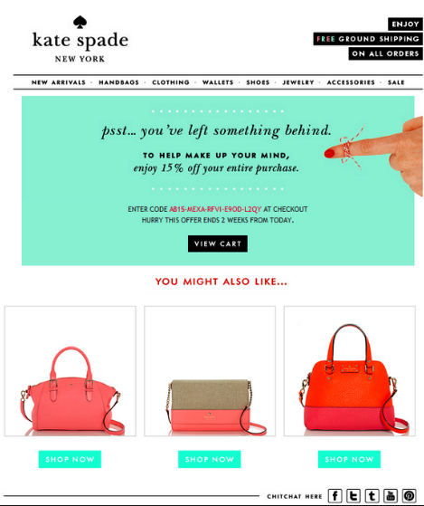 Kate Spade Cart Abandonment Email - with a good use of cross-selling products