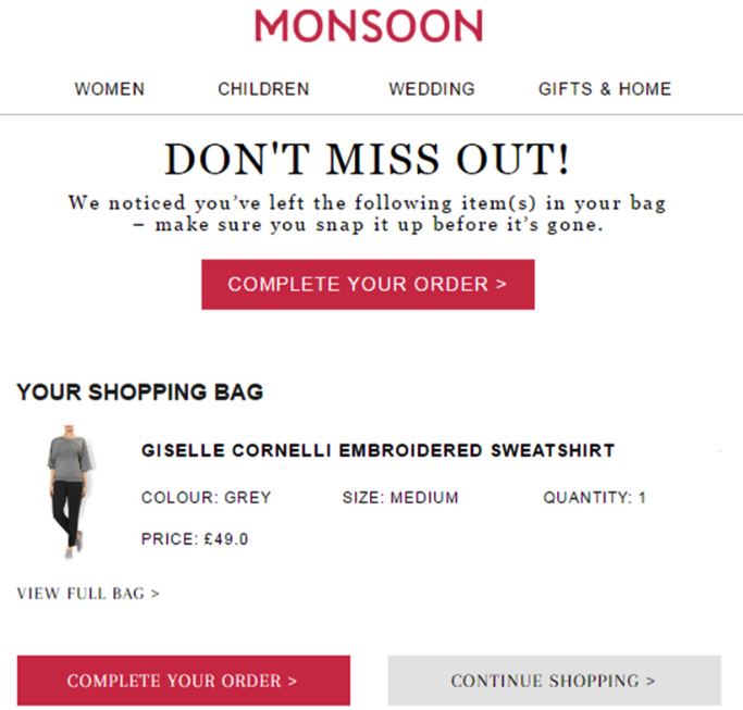 Monsoon Don't Miss Out Cart Abandonment Email