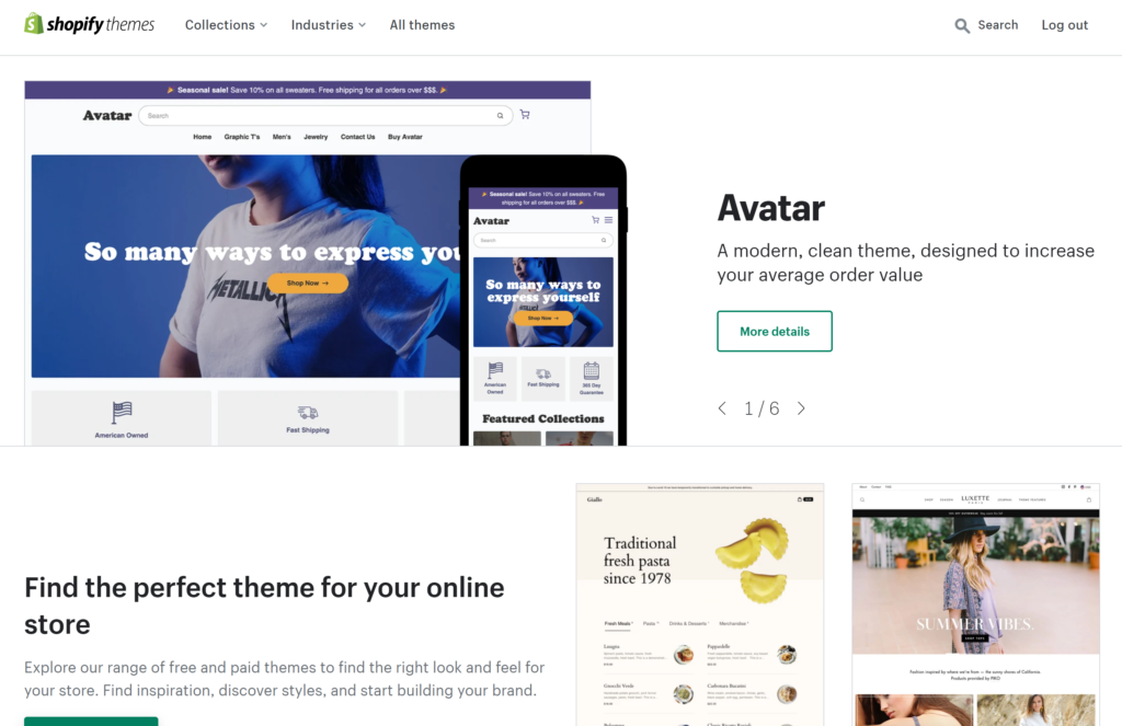 Choose from over 70 preium Shopify Themes