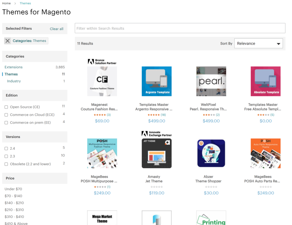 Choose a small selection of Magento Themes on their Marketplace