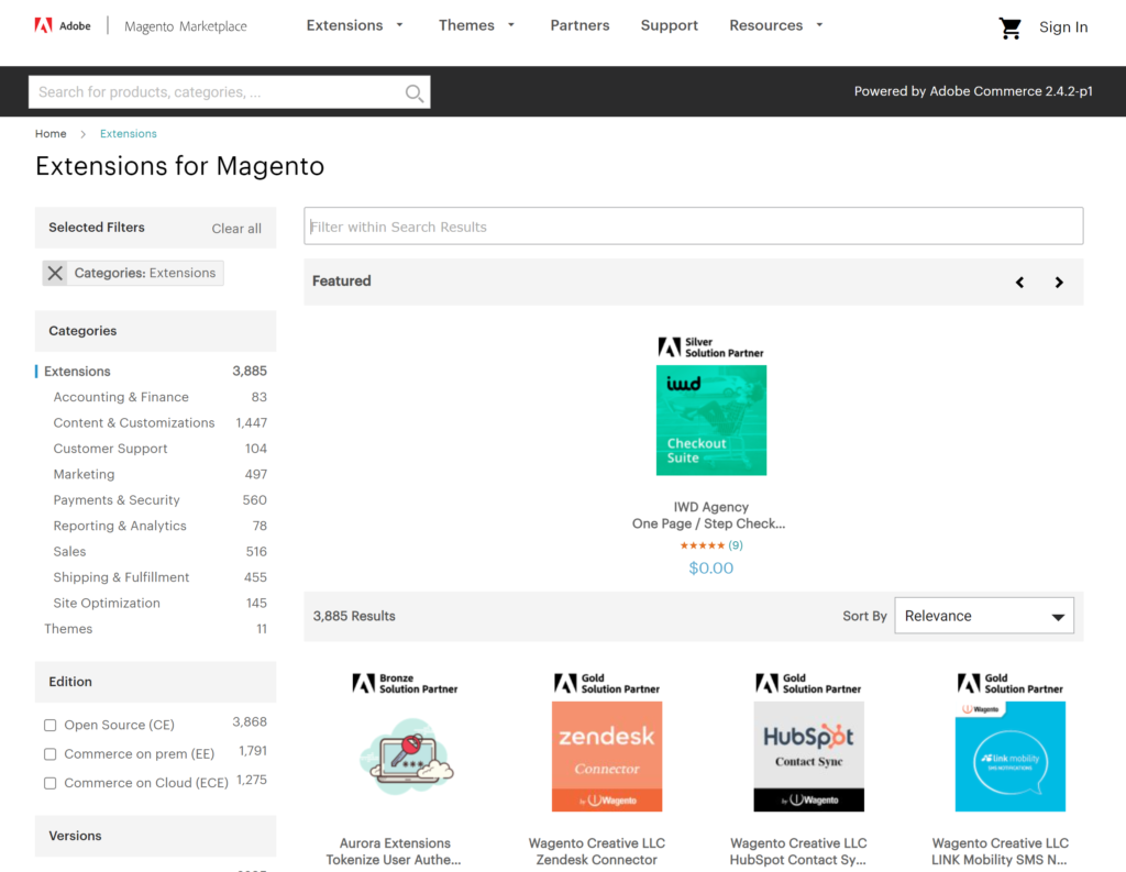 Selection from over 3,000 Magento extensions on their Marketplace