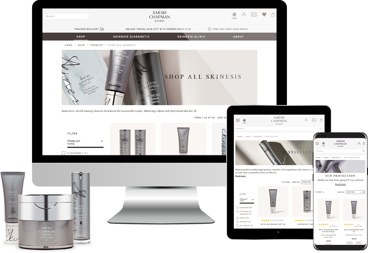 Sarah Chapman Magento Ecommerce Website design on multiple devices by R & W Media