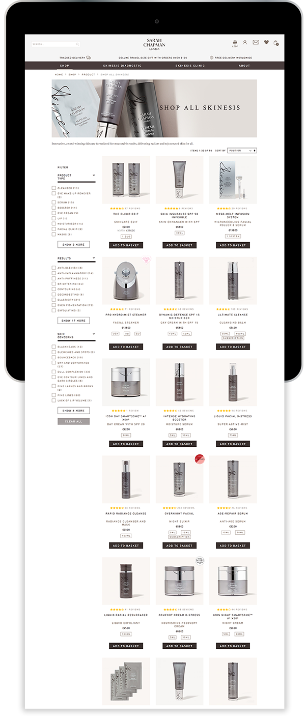 Sarah Chapman Magento website on tablet device by R & W Media