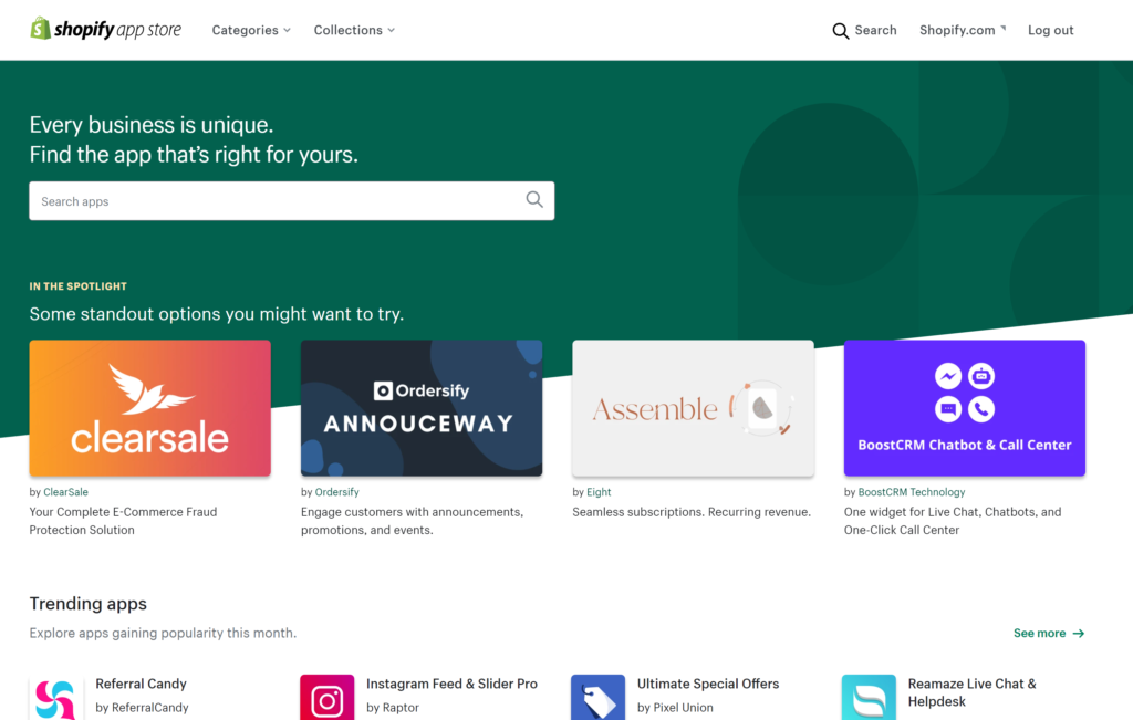 Shopify App Store is home to thousands of free and paid for apps