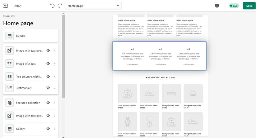 Shopify drag and drop website builder is an easy to use tool to design your own store